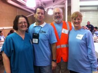2013 IA Mission of Mercy - L to R: Sandra Kotowske CDT, Instructor at Kirkwood College; John Maguire, Owner Maguire Refining; Ken Schaull CDT, Lead Dental Instructor, U of IA, Dental School, Iowa City, IA; Kris Van Cleve, Partner at Dental Prosthetic Services, Cedar Rapids, IA